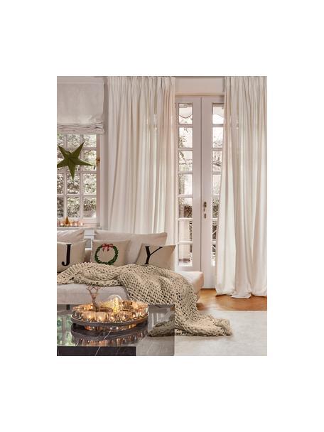 Handgemaakte grofgebreide plaid Adyna in beige, 100% polyacryl, Beige, 130 x 170 cm