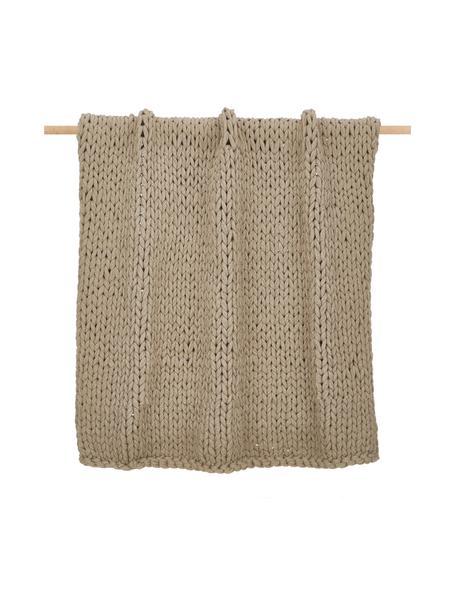 Coperta a maglia grossa beige fatta a mano Adyna, 100% poliacrilico, Beige, Larg. 130 x Lung. 170 cm