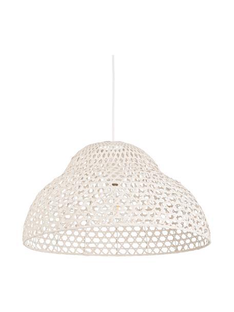 Hanglamp Astro van bamboehout, Lampenkap: bamboe, Baldakijn: gecoat metaal, Wit, Ø 50 x H 27 cm