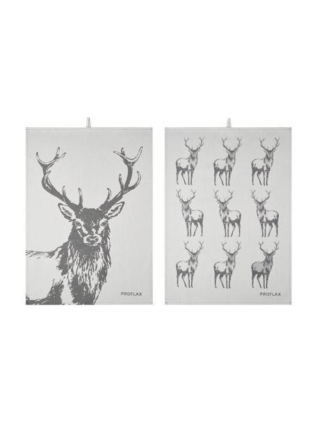 Geschirrtücher Hjort mit Hirschmotiv, 2er-Set, 100% Baumwolle, Grau, Beige, 50 x 70 cm