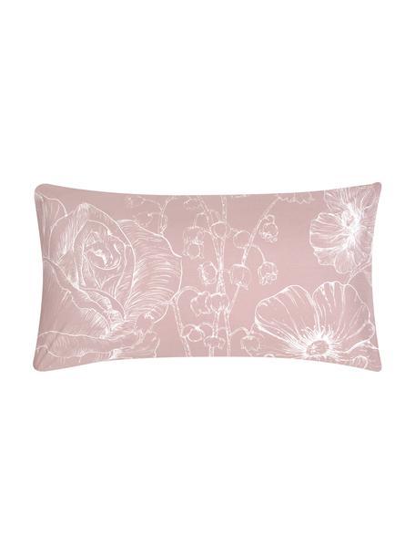 Baumwollperkal-Kissenbezüge Keno mit Blumenprint, 2 Stück, Webart: Perkal Fadendichte 180 TC, Altrosa, Weiß, 40 x 80 cm
