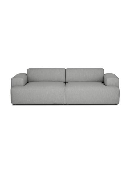 Bank Melva (3-zits) in grijs, Bekleding: 100% polyester, Frame: massief grenenhout, FSC-g, Poten: kunststof, Geweven stof grijs, 238 x 101 cm