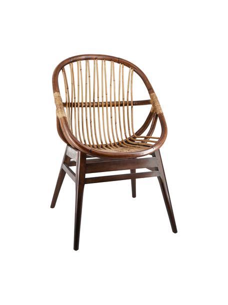 Fotel wypoczynkowy z drewna mindi i drewna bambusowego Bambu, Brązowy, S 60 x G 56 cm