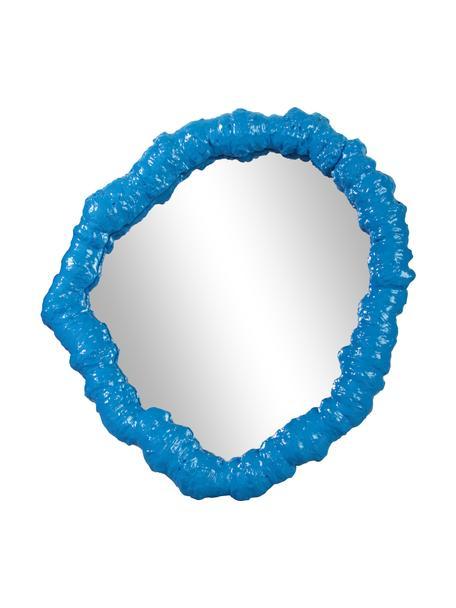 Wandspiegel Purfect mit blauem Kunststoffrahmen, Rahmen: Polyresin, Spiegelfläche: Spiegelglas, Blau, 33 x 35 cm