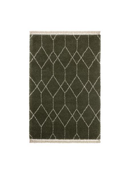 Hoogpolig vloerkleed Mila in bosgroen/beige met grafisch patroon, 100% polypropyleen, Bosgroen, beige, B 80 x L 150 cm (maat XS)