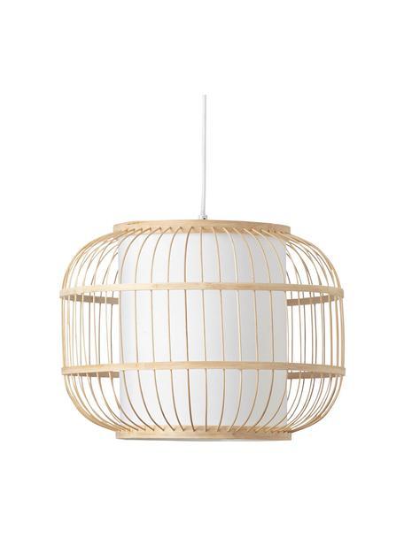 Hanglamp Bones van bamboehout, Lampenkap: bamboe, Diffuser: stof, Baldakijn: gecoat metaal, Lichtbruin, wit, Ø 40 x H 30 cm