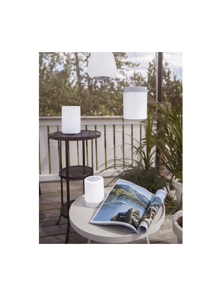 Lampada da esterno portatile e dimmerabile con altoparlante e cambio colore Loli, Paralume: materiale sintetico, Struttura: metallo laccato, Bianco, Ø 9 x Alt. 13 cm