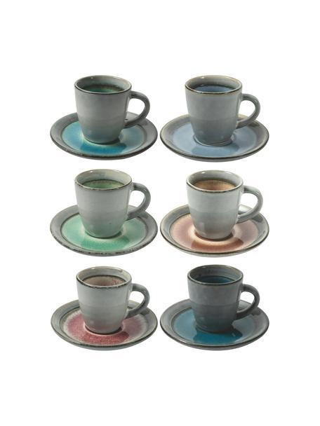 Espressotassen mit Untertassen Bahamas mit farbiger Innenseite, 6er Set, Steingut, Grau, Mehrfarbig, Set mit verschiedenen Größen