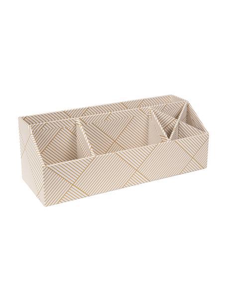 Organizador de escritorio Elisa, Cartón laminado macizo, Dorado, blanco, An 33 x Al 13 cm