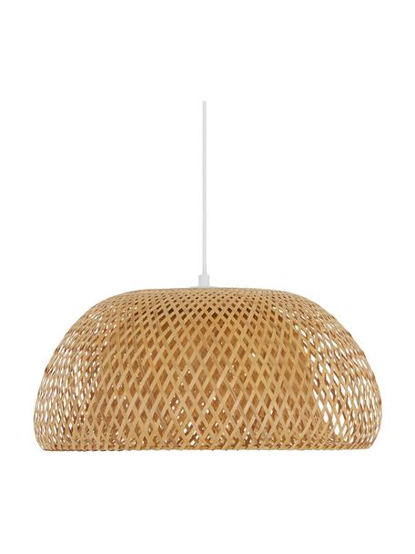 Design hanglamp Eden van bamboehout, Lampenkap: bamboe, Baldakijn: metaal, Bamboehoutkleurig, Ø 45 x H 21 cm