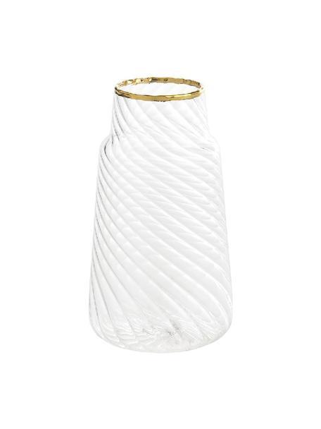 Jarrón pequeño de vidrio Plunn, Vidrio, Transparente, dorado, Ø 6 x Al 11 cm