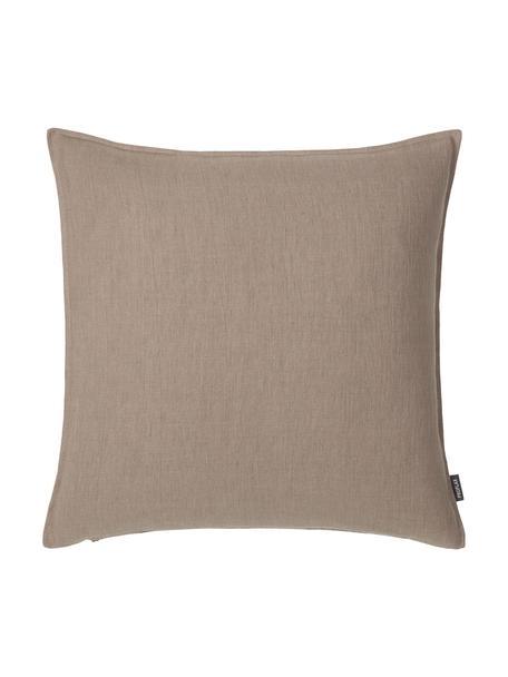 Poszewka na poduszkę z lnu z efektem sprania Sven, 100% len, Tapicerka: ciemny czerwony Nogi: czarny, matowy, S 60 x D 60 cm