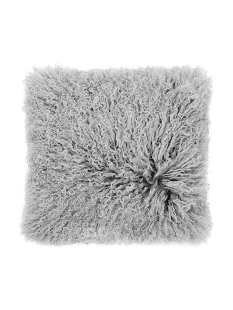 Federa arredo in pelle d'agnello a pelo lungo grigio chiaro riccio Ella, Retro: 100% poliestere, Grigio chiaro, Larg. 40 x Lung. 40 cm