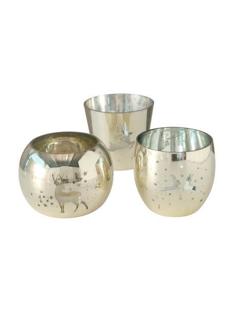 Waxinelichthoudersset Givoletto, 3-delig, Glas, Goudkleurig, Ø 10 x H 9 cm