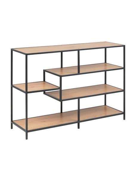 Libreria in legno e metallo Seaford, Ripiani: pannello di fibre a media, Struttura: metallo verniciato a polv, Quercia selvatica, nero, Larg. 114 x Alt. 78 cm