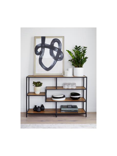 Regał z drewna i metalu Seaford, Stelaż: metal malowany proszkowo, Dziki drewno dębowe, czarny, S 114 x W 78 cm