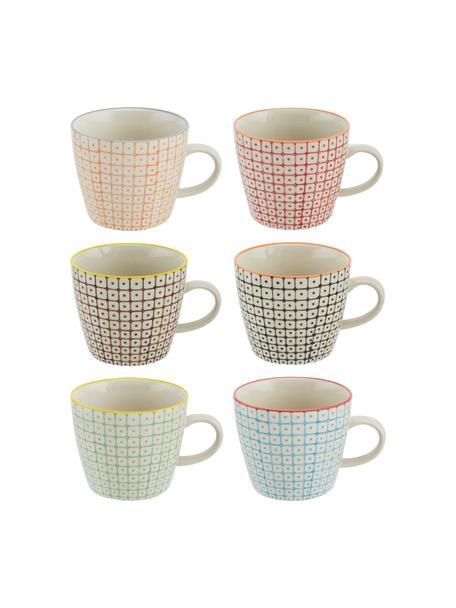 Set 6 tazze con motivo piccolo Carla, Gres, Multicolore, Ø 10 x Alt. 8 cm