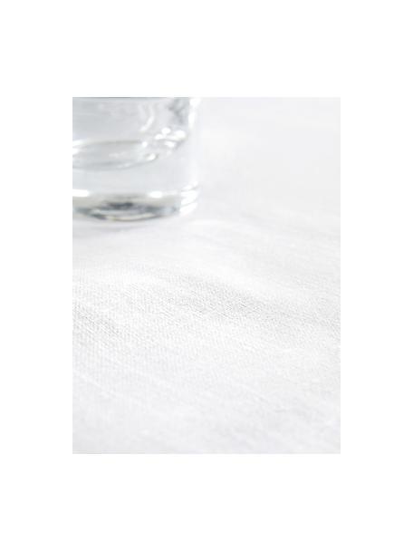 Linnen tafelkleed Heddie in wit, 100% linnen, Wit, Voor 4 - 6 personen (B 145 x L 200 cm)