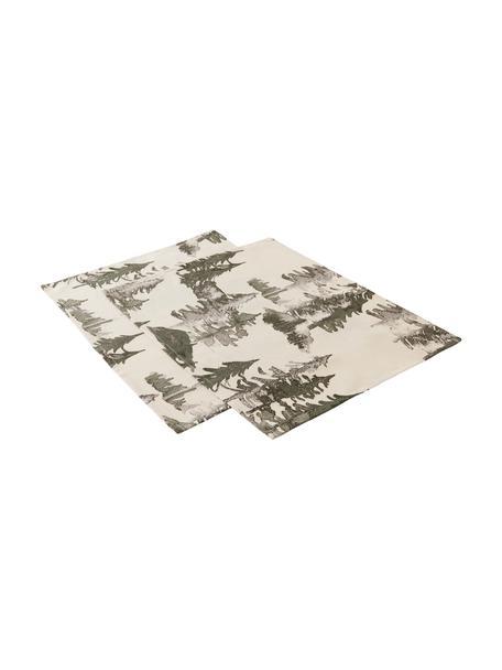 Placemats Forrest, 2 stuks, 100% katoen, afkomstig van duurzame katoenteelt, Crèmekleurig, groen- en grijstinten, 35 x 45 cm