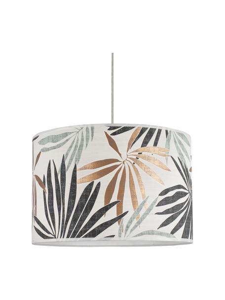Hanglamp Hoja met jungle print, Lampenkap: papier, Baldakijn: hout, Beige, groen, Ø 40 x H 24 cm