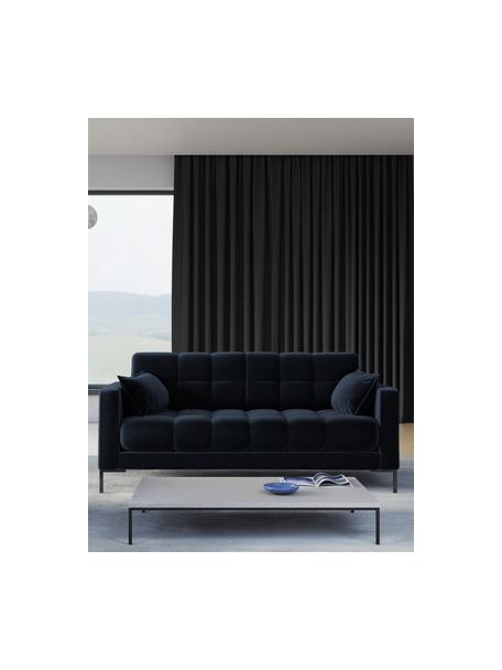 Sofá de terciopelo Mamaia (2plazas), Tapizado: terciopelo de poliéster A, Estructura: madera de pino maciza, ma, Patas: metal pintado, Azul oscuro, An 177 x F 92 cm