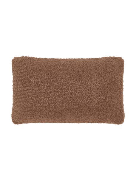 Flauschige Teddy-Kissenhülle Mille in Braun, Vorderseite: 100% Polyester (Teddyfell, Rückseite: 100% Polyester (Teddyfell, Braun, 30 x 50 cm