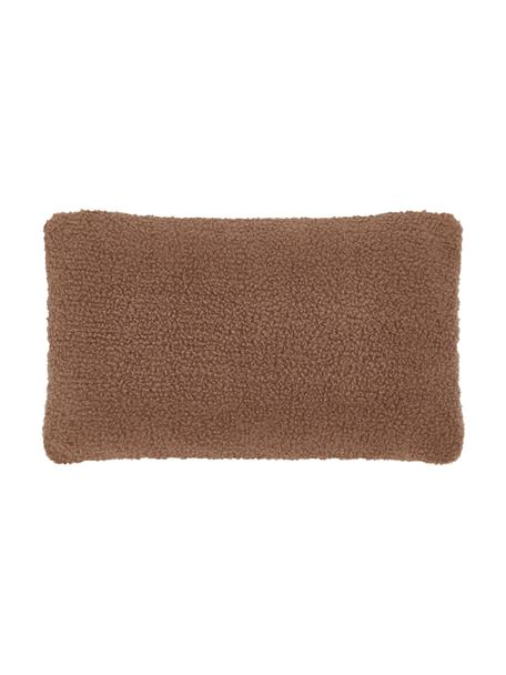 Zachte teddy-kussenhoes Mille in bruin, Bruin, 30 x 50 cm
