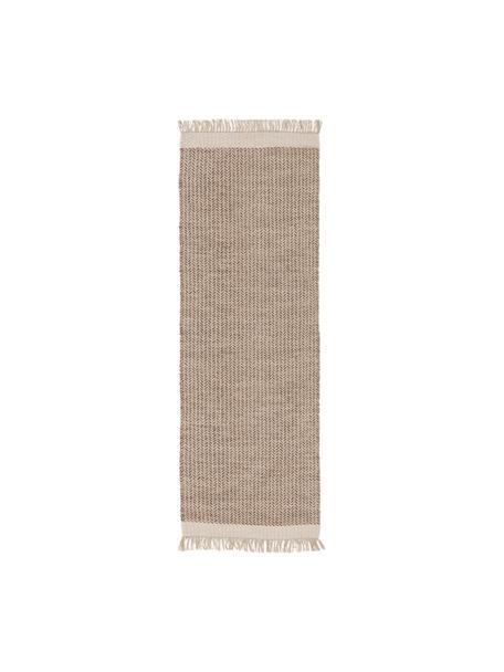 Ręcznie tkany chodnik z wełny z frędzlami Kim, 80% wełna, 20% bawełna Włókna dywanów wełnianych mogą nieznacznie rozluźniać się w pierwszych tygodniach użytkowania, co ustępuje po pewnym czasie, Beżowy, kremowy, S 70 x D 200 cm