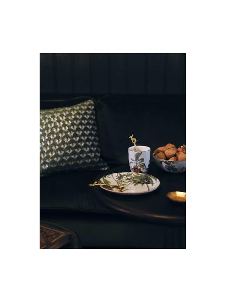 Frühstücksteller Animaux mit Goldrand und tropischen Motiven, 4er-Set, Porzellan, Mehrfarbig, Ø 20 cm