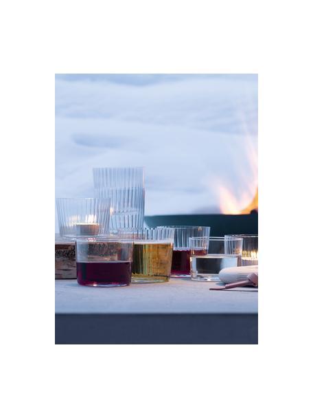 Mondgeblazen waterglazen Gio met groefstructuur, 4 stuks, Glas, Transparant, Ø 8 x H 7 cm