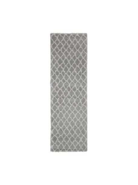 Passatoia a pelo lungo grigio/bianco crema Mona, Retro: 78% juta, 14% cotone, 8% , Grigio, bianco crema, Larg. 80 x Lung. 250 cm