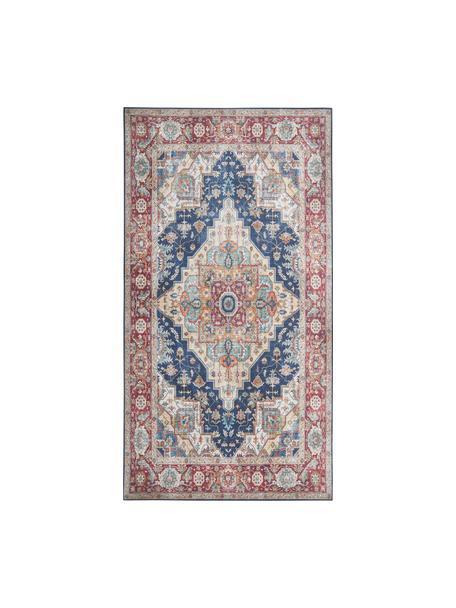 Vintage Teppich Sylla in Dunkelrot/Blau, 100% Polyester, Blau, Rot, B 80 x L 150 cm (Größe XS)