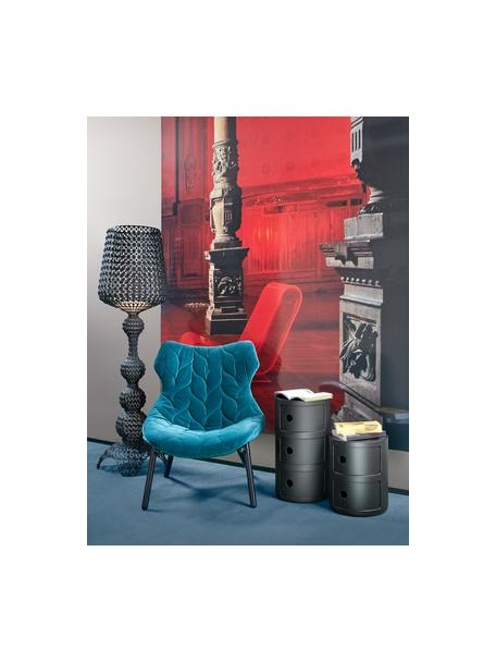 Mesa auxiliar de diseño Componibili Recycled, 3 cajones, Tecnopolímero termoplástico elaborado a partir de materiales industriales recicladados, Negro mate, Ø 32 x Al 59 cm