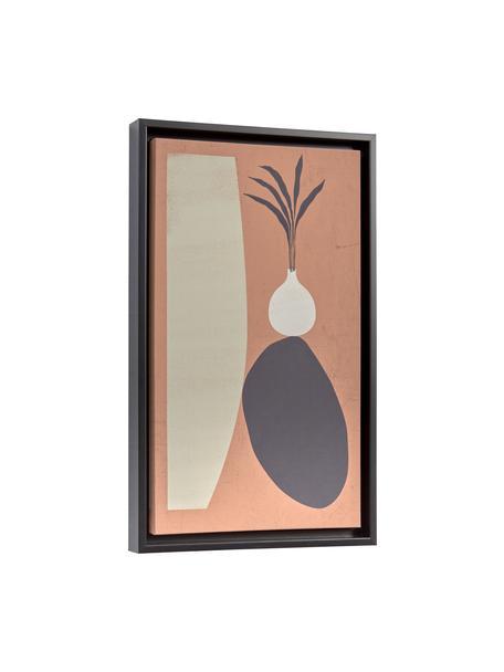 Gerahmter Digitaldruck Bianey, Rahmen: Mitteldichte Holzfaserpla, Bild: Leinwand, Orange, Grau, Beige, 30 x 50 cm