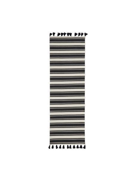Gestreifter Baumwollläufer Vigga mit Quasten, handgewebt, Schwarz, Beige, 80 x 250 cm