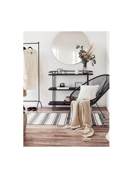 Gestreifter Baumwollläufer Vigga mit Quasten, handgewebt, 100% Baumwolle, Schwarz, Beige, 80 x 250 cm