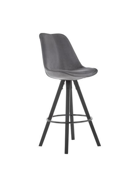 Samt-Barstühle Dima in Grau, 2 Stück, Bezug: Polyestersamt, Beine: Gummibaumholz, lackiert, Bezug: Dunkelgrau Beine: Schwarz Fußstütze: Schwarz, 49 x 112 cm