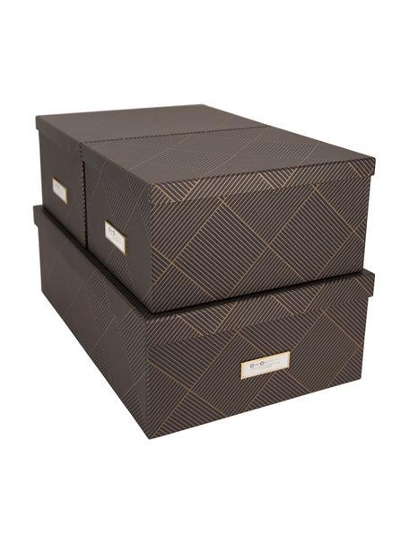 Aufbewahrungsboxen-Set Inge, 3-tlg., Box: Fester, laminierter Karto, Goldfarben, Dunkelgrau, Set mit verschiedenen Grössen