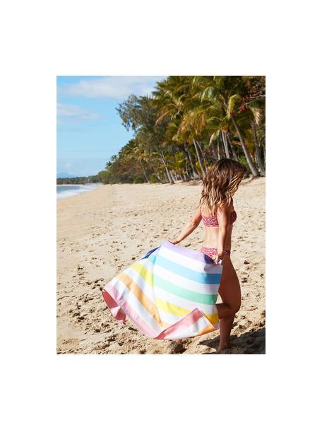 Ręcznik plażowy z mikrofibry Summer, Mikrofibra (80% poliester, 20% poliamid), Wielobarwny, biały, S 90 x D 200 cm
