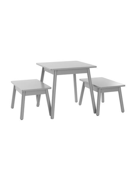 Komplet stolików dla dzieci Kinna Mini, 3-elem., Drewno sosnowe, płyta pilśniowa średniej gęstości (MDF), Szary, Komplet z różnymi rozmiarami