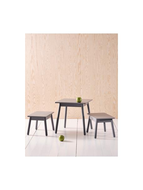 Kindertafelset Kinna Mini, 3-delig, Grenenhout, MDF, Grijs, Set met verschillende formaten
