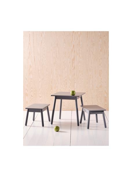 Set de mesa y taburetes Kinna Mini, 3pzas., Madera de pino, tablero de fibras de densidad media (MDF), Gris, Set de diferentes tamaños