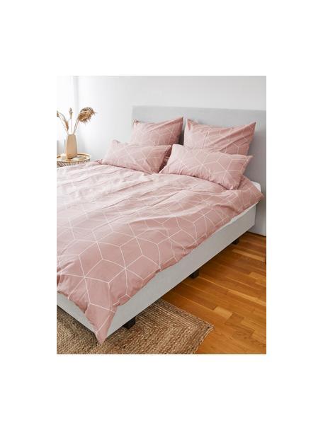 Pościel z bawełny Lynn, Brudny różowy, kremowobiały, 135 x 200 cm + 1 poduszka 80 x 80 cm