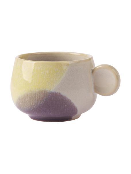 Handgemachte Colorblocking Kaffeetassen Gallery, 2 Stück, Steingut, Gelb, Lila, Ø 8 x H 6 cm