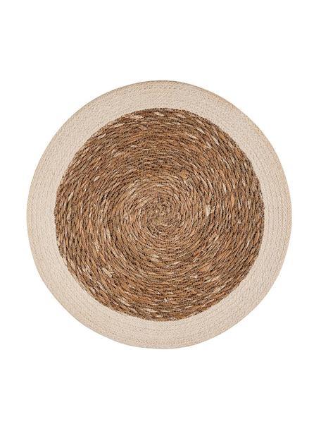 Ronde placemats Sauvage, 2 stuks, Zeegras, jute, Beige, wit, Ø 38 cm