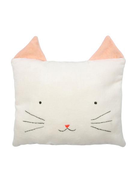 Poduszka do przytulania Cat, Tapicerka: aksamit bawełniany, Złamana biel, blady różowy, czarny, S 30 x W 30 cm