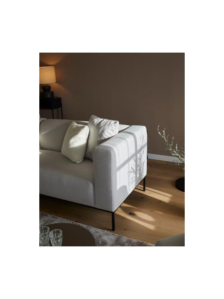 Sofa Carrie (3-Sitzer) in Grau mit Metall-Füssen, Bezug: Polyester 50.000 Scheuert, Gestell: Spanholz, Hartfaserplatte, Webstoff Grau, B 202 x T 86 cm