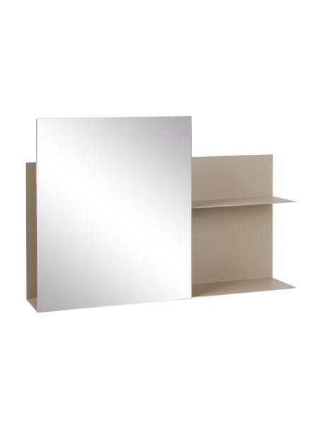 Mensola a muro con specchio Svante, Ripiano: metallo verniciato a polv, Superficie dello specchio: lastra di vetro, Beige, Larg. 51 x Alt. 25 cm