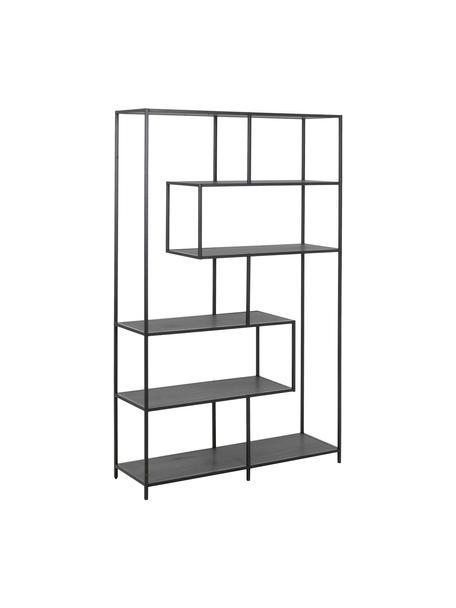 Libreria in legno e metallo Seaford, Ripiani: pannello di fibra a media, Struttura: metallo verniciato a polv, Nero, Larg. 114 x Alt. 185 cm