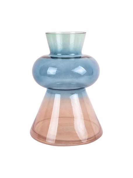 Mondgebblazen glazen vaas Winter Dream, Glas, Bruin, blauw, groen, Ø 17 x H 23 cm